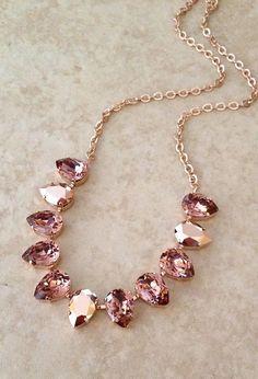 55c8b4865 Swarovski pear cut crystal necklace pale burgundy rose gold | Etsy Bridal  Necklace, Crystal Necklace