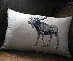 Vintage Moose Pillow Rustic Home Decorative by SparrowAvenue
