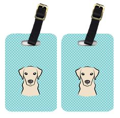Pair of Checkerboard Blue Yellow Labrador Luggage Tags BB1160BT