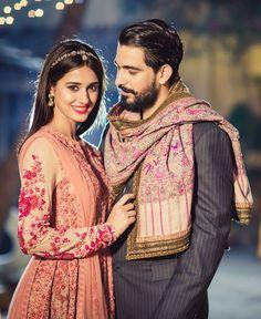 Sabyasachi bride - Indian bride - Indian groom- anarkali -Indian wedding - shawl - regal - pink - headpiece
