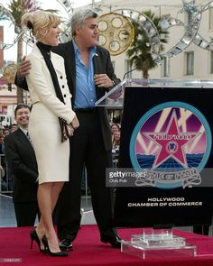Celine Dion and Jay Leno during Celine Dion Recieves a Star on the Hollywood Walk of Fame at Mann Chinese 6 Theatre in Hollywood, California, United States.