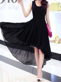 Chiffon Dress - Asymmetrical High Low Hemline / Pleated / Sleeveless