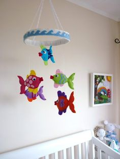Rainbow Kissing Fish Baby Mobile by MaisieMooNZ on Etsy, $75.00