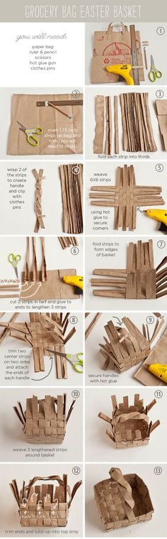 DIY Paper Easter Basket...you know it's a hipster tutorial when they are cutting up a tj's sack