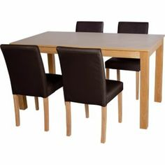 Buy Aston Oak 120cm Dining Table And 4 Chocolate Chairs At Argoscouk