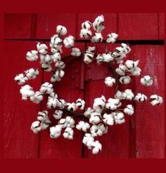 22 inch White Faux Cotton Boll Wreath
