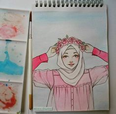 Hijab Drawing : particular scarf is the most essential item while in the garments of gi Cartoon Sketches, Art Sketches, Girl Cartoon, Cartoon Art, Hijab Drawing, Islamic Cartoon, Anime Muslim, Hijab Cartoon, Girls Anime