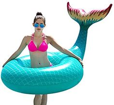 Amazon.com: Jasonwell Giant Inflatable Mermaid Tail Pool Float with Rapid Valves Summer Beach Swimming Pool Party Lounge Raft Decorations Toys for Adults Kids (Green): Toys & Games