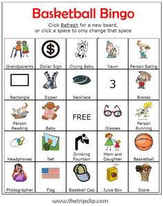 Keep siblings entertained at basketball games by challenging them to find every item on this basketball bingo board.