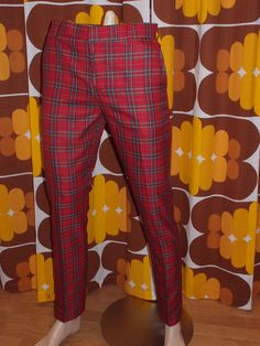 New Run & Fly mod, 60's,vintage beatnik style slim classic red tartan trousers in Clothes, Shoes & Accessories, Men's Clothing, Trousers | eBay