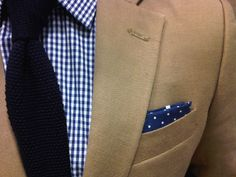 Cotton Suit, Blue Gingham Shirt, Navy Knit Tie, and Navy Polka Dot Pocket…