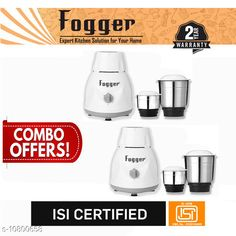 Mixer Grinder Fogger Dimond 500 Watt Mixer Grinder, 2 Jar (Set of 2) Product Name: Fogger Dimond 500 Watt Mixer Grinder 2 Jar (Set of 2) Brand Name: Fogger Body Material: Stainless Steel Jar Material: Stainless Steel Multipack: 2 No. of Jars: 2 Color: Grey No. of Speed Settings: 3 Operating Voltage: 240 Volts Power Consumption: 500 Watts Warranty Period: 2 Years Warranty Type: Repair or Replacement Country of Origin: India Sizes Available: Free Size   Catalog Rating: ★3.9 (292)  Catalog Name: Fogger Mixer Juicer Grinders CatalogID_1989586 C104-SC1487 Code: 2402-10800658-