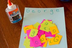 Quick set up for a Spell My Name activity for preschoolers