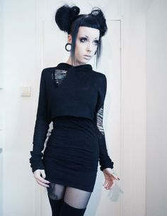 Murderotic. Grungy black goth alterntative fashion.