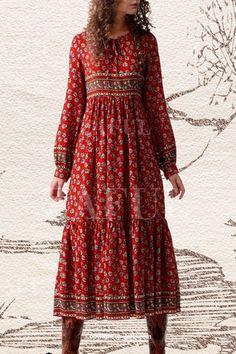Tiny Floral Print Long Sleeve Maxi Dress