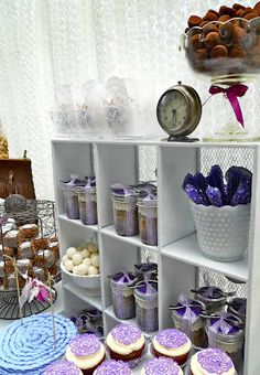 Shabby Chic wedding dessert table in purple by Oh, Sugar! Love this idea! Succulent Wedding Favors, Wedding Table Flowers, Blue Wedding Shoes, Spring Wedding Colors, Wedding Day, Chic Wedding, Wedding Dress, Dessert Tables, Wedding Desserts