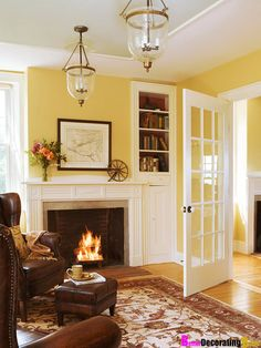 yellow walls with a rich brown and white scheme