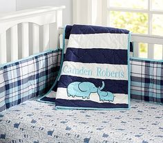 Camden  Nursery Bedding #pbkids / Love the elephant theme for a boy.