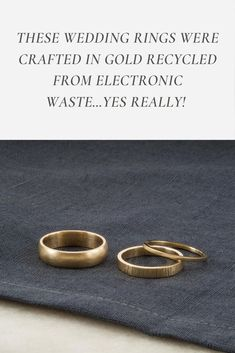 Throwing a sustainable, zero-waste, and ethical wedding does not have to feel daunting. A great place to start is with eco-friendly gold wedding rings. These ethical and sustainable wedding bands are handmade in gold recycled from electronic waste. #weddingplanning #ethicalwedding #sustainablewedding #ecofriendlywedding #weddingplanningtips #bridetobe #ethicalengagement #ethicalbride #ethicalliving #sustainableliving #consciousliving