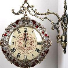I've never seen such an ornate train station clock. Unusual Clocks, Cool Clocks, Train Station Clock, Hanging Clock, Clock Art, Antique Clocks, Vintage Clocks, Antique Watches, Art Nouveau