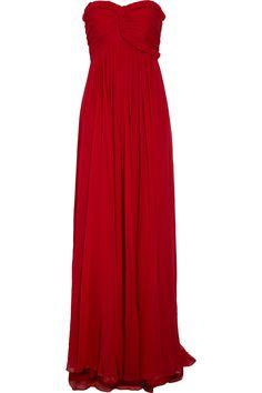 NOTTE BY MARCHESA  Braid-trimmed silk-chiffon gown