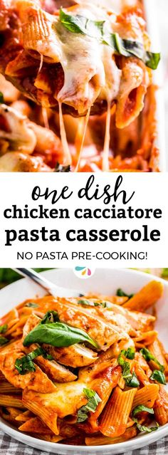 Do you love traditional Italian chicken cacciatore, but want things to be quick in the kitchen? This easy chicken cacciatore pasta casserole recipe comes together fast in one dish and is baked for a hands-off dinner idea. There's no need to pre-cook the noodles, they go in dry with the sauce and meat and cook entirely in the oven. This best of all family comfort foods then gets topped with mozzarella for an extra cheesy one pot meal! Click through now to get the printable recipe.