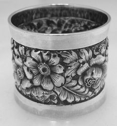American Coin Silver Napkin Ring Repousse Wood & Hughes 1880