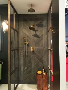Loved @brizofaucet's choice of tiles to show off their new Litze collection of bathroom fixtures. #blogtourkbis #kbis2016