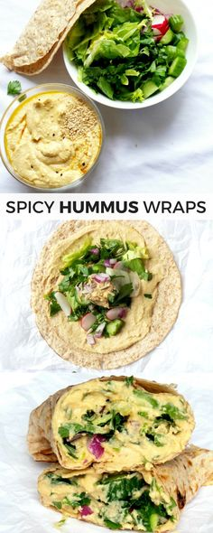 The Best Hummus - Easy, Spicy, Fluffy & Hummus Wrap - Beauty Bites - Tasty and healthy vegan hummus wraps – high-fiber, super easy, quick and filling for lunch or din - Healthy Foods To Make, Quick Healthy Lunch, Healthy Eating Recipes, Lunch Recipes, Healthy Wraps, Vegan Meals, Dinner Recipes, Vegetarian Lunch, Healthy Lunches