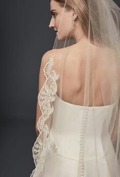 Chapel Length Wedding Veil With Embroidered Lace Edge/Trim; David's Bridal