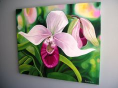 Lady Slipper Orchid Original Oil Painting by FineArtByLorraine