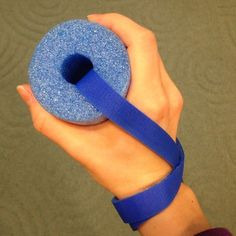 A modified resting hand position splint. Made out of a swimming noodle!