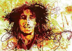 Pintado a mano pintura al óleo en la lona Bob Marley del arte pop pintura al óleo reproducción para el hogar y decoración del hotel