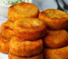 Cheesy Mashed Potato Dippers - Cooking TV Recipes - Everybody loves mashed potatoes, and everybody loves a loaded baked potato so why not combine the t - Fried Mashed Potatoes, Mashed Potato Cakes, Leftover Mashed Potatoes, Fried Potato Cakes, Cheesy Potatoes, Baked Potatoes, Cooking Tv, Fine Cooking Recipes, Cooking Games