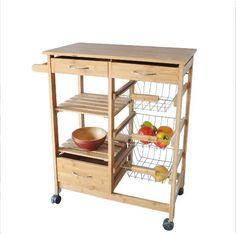 Rolling Kitchen Cart Wood Top Cutting Board Island Shelves Storage Baskets NEW  #Axis