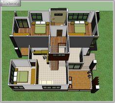 Modern Single Detached House - House And Decors Home Modern, Modern House Plans, Modern House Design, Beautiful House Plans, Dream House Plans, Modern Bungalow House, Duplex House, 2 Storey House, Villa Plan