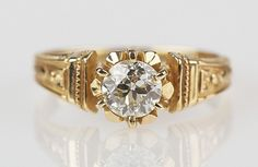 14k .76 ct Old European Cut Diamond in Victorian styled band VS2/K