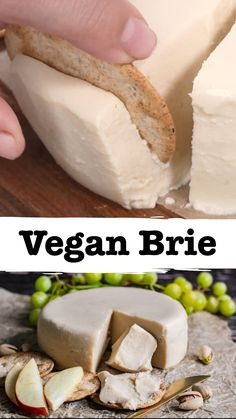 Creamy, rich, and buttery smooth, this Vegan Brie is not only incredibly easy to make, but it's also deliciously similar to its dairy counterpart. Instructions included for nut-free and soy-free versions. Prep this vegan Brie recipe in just 10 minutes and the next day you'll be met with amazing vegan cheese perfect for a party or just for snacking. #vegan #vegancheese #plantbased #veganbrie #zardyplants Vegan Cheese Recipes, Vegan Dinner Recipes, Vegan Foods, Vegan Dishes, Dairy Free Recipes, Whole Food Recipes, Cooking Recipes, Vegan Brie Recipe, Soy Flour Recipes
