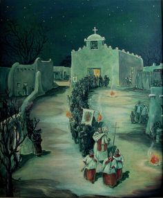 Oratory of St. Anthony, Taos by Victor LeMay 1963 Oil on Canvas