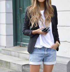 Combine #denimshorts with a #whitetshirt and a #blazer.
