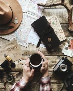 Travelers things. #travel #flatlay #map #compass #travelling