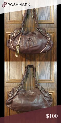 B. Makowsky brandy leather satchel Never used, middle zippered compartment, zippered pocket on inside back with 2 cell phone pockets, pockets on front and back. Cute bag b. makowsky Bags Satchels