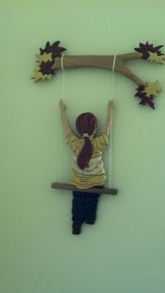 "Intarsia ""Girl on Swing""  All natural wood, no paint."
