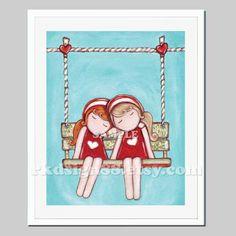 Nursery art prints, baby girl nursery decor, nursery print, best friends art for kids art print, two sisters, red, blonde - Day Dream 8 x 10