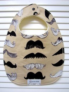 Mustache Man : Plastic Lined Bib.