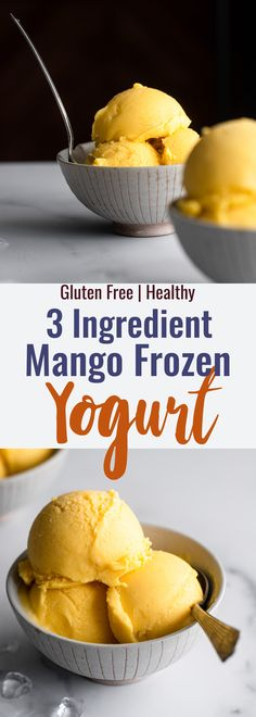 Mango Frozen Yogurt Recipe, Homemade Frozen Yogurt, Healthy Frozen Yogurt, Frozen Yoghurt, Dairy Free Frozen Yogurt, Homemade Ice, High Protein Desserts, Healthy Dessert Recipes, Frozen Desserts