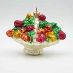 Christopher Radko Tulip Flower Basket Christmas Ornament Blown Glass Retired Vtg #ChristopherRadko