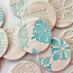 DIY Stamped Clay Magnets - Gathering Beauty using air dry clay - could also be done with polymer or pottery clay. Another take on salt dough ornaments also. Creative Crafts, Fun Crafts, Arts And Crafts, Clay Christmas Decorations, Christmas Ornaments, Hanging Decorations, Star Decorations, Diy Christmas, Christmas Cookies