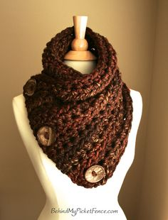 Items similar to The Original BOSTON HARBOR SCARF Warm, soft & stylish scarf with 3 large coconut buttons in Rustic Redwood Crochet Scarves, Crochet Clothes, Knit Crochet, Crochet Hats, Knitting For Kids, Knitting Projects, Crochet Projects, Knitting Patterns, Crochet Patterns