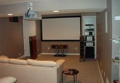 Interior Design Simple Basement Remodeling Idea With Huge Palin White Screen - pictures, photos, images Small Basement Bathroom, Bathroom Floor Plans, Modern Basement, Basement Bedrooms, Bathroom Layout, Bathroom Ideas, Basement Laundry, Bathroom Plumbing, Bathroom Organization